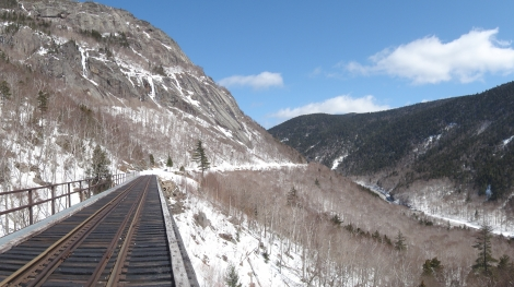 Crawford Notch from the trestle.  The Mt. Willard Section House site is just past the end of the bridge.