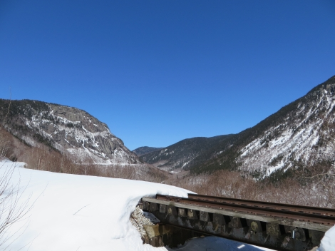 Skiing in Crawford Notch State Park.  The bridges were the only tricky part.