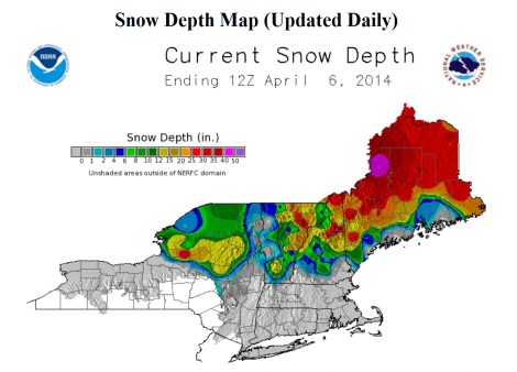 The trusty NOAA snow depth map says there will be snow...