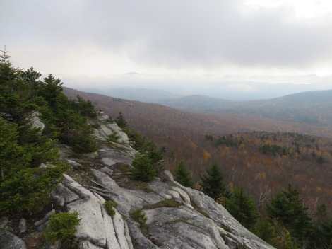 View towards the northeast, with Mt. Kearsarge poking out of the encroaching clouds