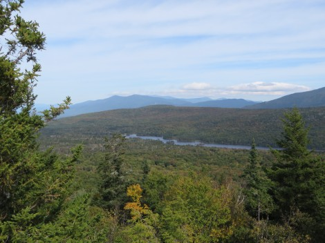 View northeast towards Long Pond and the tallest of the Whites beyond